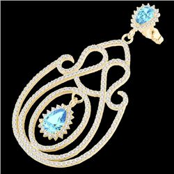 6.40 CTW Topaz & Micro Pave VS/SI Diamond Designer Earrings 14K Yellow Gold - REF-303W5F - 22433