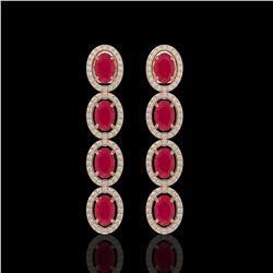 6.47 CTW Ruby & Diamond Halo Earrings 10K Rose Gold - REF-114K2W - 40506