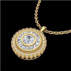 2.11 CTW VS/SI Diamond Solitaire Art Deco Necklace 18K Yellow Gold - REF-309Y3K - 37087