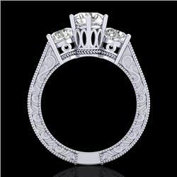 2.01 CTW VS/SI Diamond Solitaire Art Deco 3 Stone Ring 18K White Gold - REF-527Y3K - 36929
