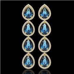 11.2 CTW London Topaz & Diamond Halo Earrings 10K Yellow Gold - REF-159M5H - 41320