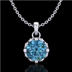 0.85 CTW Fancy Intense Blue Diamond Solitaire Art Deco Necklace 18K White Gold - REF-90T9M - 37369
