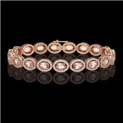 14.25 CTW Morganite & Diamond Halo Bracelet 10K Rose Gold - REF-294H2A - 40464