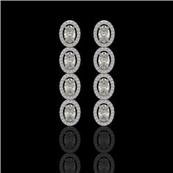 5.33 CTW Oval Diamond Designer Earrings 18K White Gold - REF-982K4W - 42620
