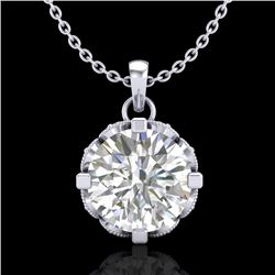 1.5 CTW VS/SI Diamond Solitaire Art Deco Stud Necklace 18K White Gold - REF-363A5X - 36845