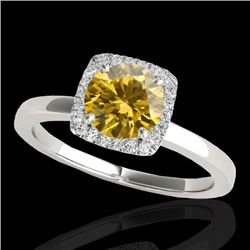 1.15 CTW Certified Si/I Fancy Intense Yellow Diamond Solitaire Halo Ring 10K White Gold - REF-200X2T