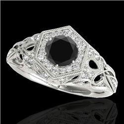 1.4 CTW Certified VS Black Diamond Solitaire Antique Ring 10K White Gold - REF-78Y9K - 34178