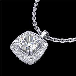 1.25 CTW Cushion VS/SI Diamond Solitaire Art Deco Necklace 18K White Gold - REF-315N2Y - 37037