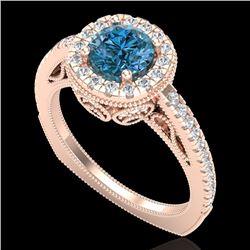 1.55 CTW Fancy Intense Blue Diamond Solitaire Art Deco Ring 18K Rose Gold - REF-178A2X - 37986