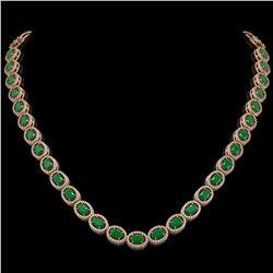 34.11 CTW Emerald & Diamond Halo Necklace 10K Rose Gold - REF-562T9M - 40401