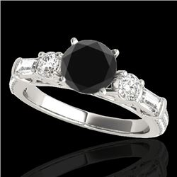 2 CTW Certified VS Black Diamond Pave Solitaire Ring 10K White Gold - REF-129H6A - 35474
