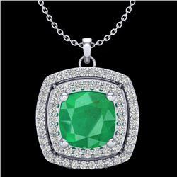2.52 CTW Emerald & Micro Pave VS/SI Diamond Halo Necklace 18K White Gold - REF-76W4F - 20454