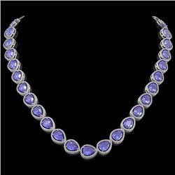 44.8 CTW Tanzanite & Diamond Halo Necklace 10K White Gold - REF-1134K9W - 41195