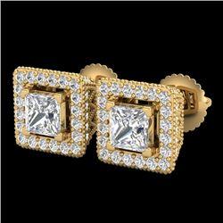 2.25 CTW Princess VS/SI Diamond Micro Pave Stud Earrings 18K Yellow Gold - REF-272H8A - 37171