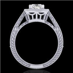 1.77 CTW Cushion VS/SI Diamond Solitaire Art Deco Ring 18K White Gold - REF-445N5Y - 37031