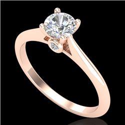 0.56 CTW VS/SI Diamond Solitaire Art Deco Ring 18K Rose Gold - REF-106A8X - 37281