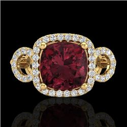 3.75 CTW Garnet & Micro VS/SI Diamond Ring 18K Yellow Gold - REF-65N3Y - 23005