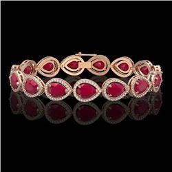 30.06 CTW Ruby & Diamond Halo Bracelet 10K Rose Gold - REF-368X5T - 41238