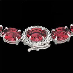 35.25 CTW Pink Tourmaline & VS/SI Diamond Micro Halo Necklace 14K White Gold - REF-418F2N - 40278
