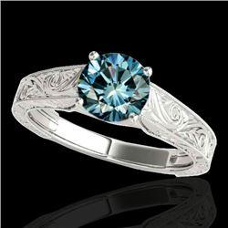 1 CTW Si Certified Fancy Blue Diamond Solitaire Ring 10K White Gold - REF-152K8W - 35187