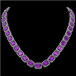 76.69 CTW Amethyst & Diamond Halo Necklace 10K White Gold - REF-711X3T - 41513
