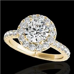 1.75 CTW H-SI/I Certified Diamond Solitaire Halo Ring 10K Yellow Gold - REF-180M2H - 33438