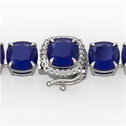 46 CTW Sapphire & Micro Pave VS/SI Diamond Halo Bracelet 14K White Gold - REF-218W2F - 23307