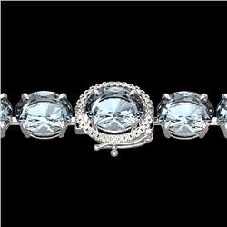 79 CTW Sky Blue Topaz & Micro VS/SI Diamond Halo Bracelet 14K White Gold - REF-229M3H - 22283