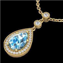 2.25 CTW Sky Blue Topaz & Micro Pave VS/SI Diamond Necklace 18K Yellow Gold - REF-45Y3K - 23144