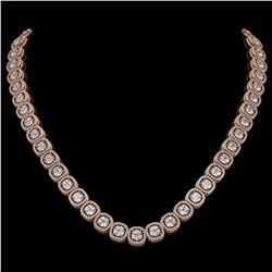 32.64 CTW Cushion Diamond Designer Necklace 18K Rose Gold - REF-5967H6A - 42624