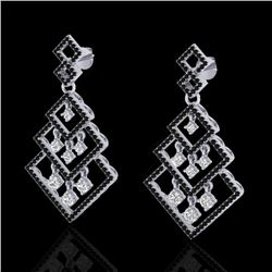 3 CTW Micro Pave Black & White VS/SI Diamond Earrings 14K White Gold - REF-249X3T - 22487
