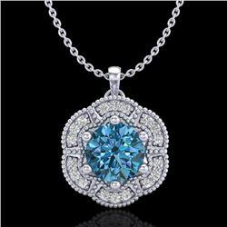 1.01 CTW Fancy Intense Blue Diamond Solitaire Art Deco Necklace 18K White Gold - REF-136Y4K - 37971