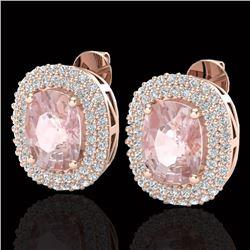 5.50 CTW Morganite & Micro Pave VS/SI Diamond Halo Earrings 14K Rose Gold - REF-147X8T - 20122