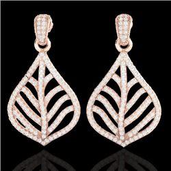 2.50 CTW Micro Pave VS/SI Diamond Earrings Designer 14K Rose Gold - REF-221T8M - 21150