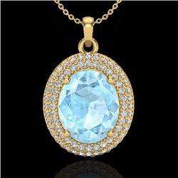 4 CTW Aquamarine & Micro Pave VS/SI Diamond Necklace 18K Yellow Gold - REF-122T8M - 20555