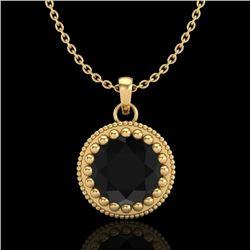 1 CTW Fancy Black Diamond Solitaire Art Deco Stud Necklace 18K Yellow Gold - REF-50W9F - 37487