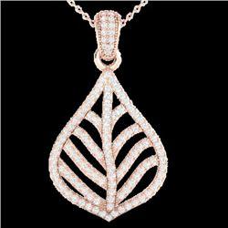 1.25 CTW Micro Pave VS/SI Diamond Necklace Designer 14K Rose Gold - REF-99Y6K - 21284
