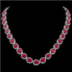 64.01 CTW Ruby & Diamond Halo Necklace 10K White Gold - REF-785M8H - 41189