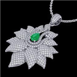 3 CTW Emerald & Micro VS/SI Diamond Designer Necklace 18K White Gold - REF-257T3M - 22561