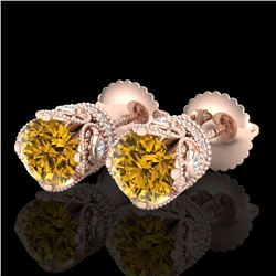 1.85 CTW Intense Fancy Yellow Diamond Art Deco Stud Earrings 18K Rose Gold - REF-172K8W - 37414