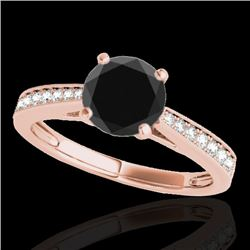 1.25 CTW Certified VS Black Diamond Solitaire Ring 10K Rose Gold - REF-54N2Y - 35009