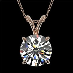 1.50 CTW Certified H-SI/I Quality Diamond Solitaire Necklace 10K Rose Gold - REF-322T5M - 33221