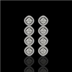 5.28 CTW Cushion Cut Diamond Designer Earrings 18K White Gold - REF-981T6M - 42809