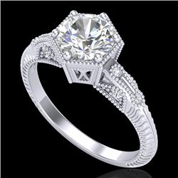 1.17 CTW VS/SI Diamond Solitaire Art Deco Ring 18K White Gold - REF-381W8F - 37214