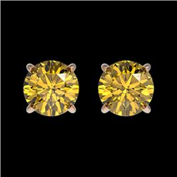1 CTW Certified Intense Yellow SI Diamond Solitaire Stud Earrings 10K Rose Gold - REF-116H3A - 33058