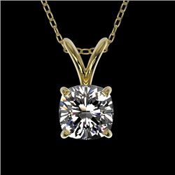 0.50 CTW Certified VS/SI Quality Cushion Cut Diamond Necklace 10K Yellow Gold - REF-79Y5K - 33171