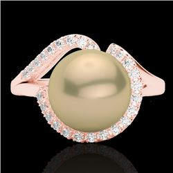 0.27 CTW VS/SI Diamond & Golden Pearl Designer Ring 14K Rose Gold - REF-50A8X - 22619