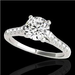 1.45 CTW H-SI/I Certified Diamond Solitaire Ring 10K White Gold - REF-163F5N - 34979