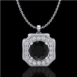 1.54 CTW Fancy Black Diamond Solitaire Art Deco Stud Necklace 18K White Gold - REF-120T2M - 38290