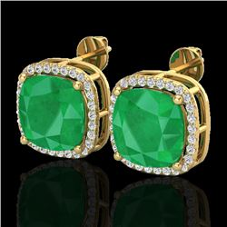 12 CTW Emerald & Micro Pave Halo VS/SI Diamond Earrings Solitaire 18K Yellow Gold - REF-158W2F - 230